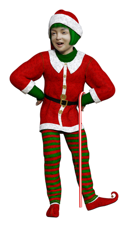 3D rendering of a little Christmas elf isolated on white background