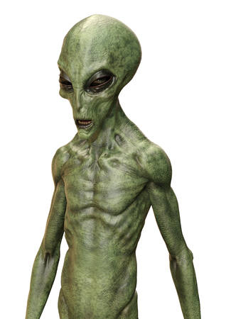 3D rendering of a green alien isolated on white background Фото со стока