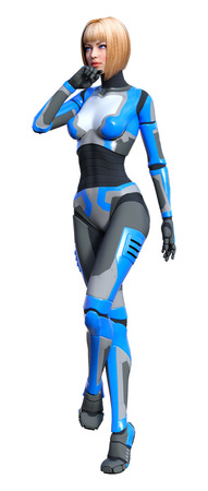 3D rendering of a female robot isolated on white background Banco de Imagens - 130073937