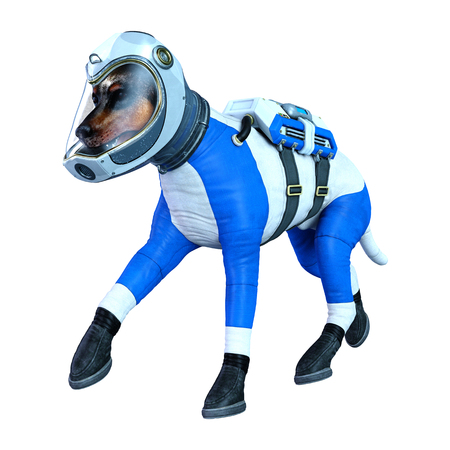3D rendering of an astronaut dog isolated on white background