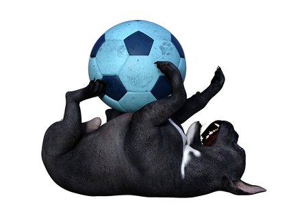 3D rendering of a black French bulldog playing with a ball isolated on white background
