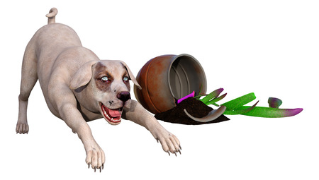 3D rendering of a crossbreed dog with a broken plant isolated on white background Imagens