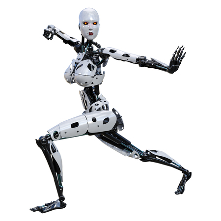 3D rendering of a female robot isolated on white background