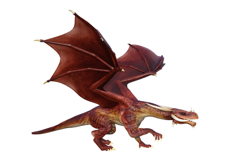 3D rendering of a fantasy dragon isolated on white background