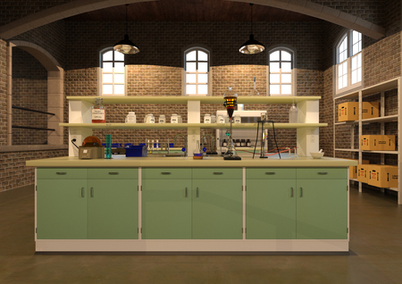 3D rendering of chemistry laboratory with nobody inside