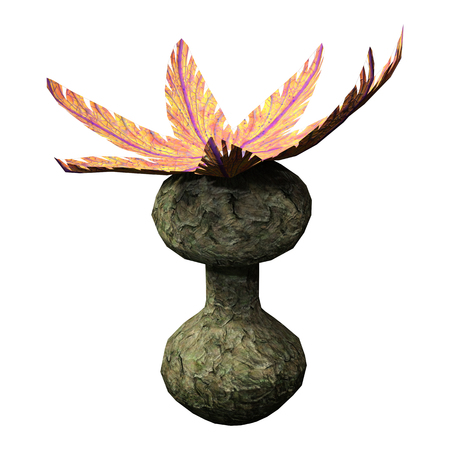 3D rendering of a fantasy alien plant isolated on white background