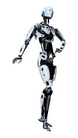 3D rendering of a male robot isolated on white background Zdjęcie Seryjne