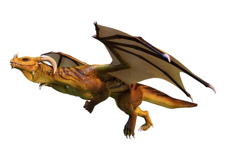 3D rendering of a fantasy dragon isolated on white background Zdjęcie Seryjne - 134902323