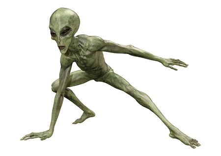 3D rendering of a green alien isolated on white background
