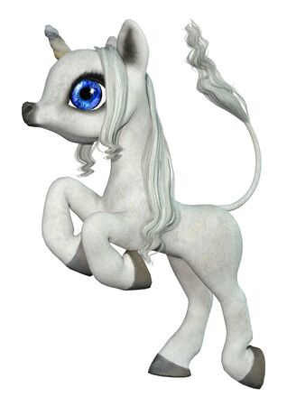 3D rendering of a little fantasy white unicorn isolated on white background Reklamní fotografie