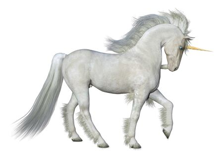 3D rendering of a fantasy white unicorn isolated on white background