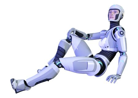 3D rendering of a female robot isolated on white background Standard-Bild