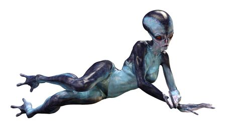 3D rendering of a blue female alien isolated on white background Archivio Fotografico