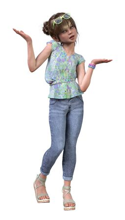 3D rendering of a cute little girl wearing a fashionable summer look isolated on white background