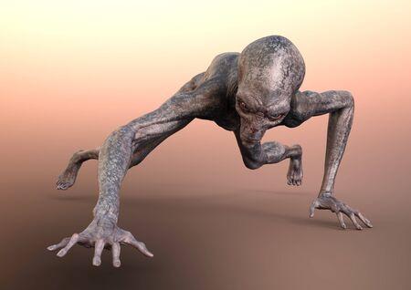 3D rendering of a fantasy science fiction alien