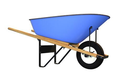 3D rendering of a blue wheelbarrow isolated on white background
