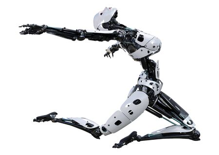 3D rendering of a female robot isolated on white background Banco de Imagens