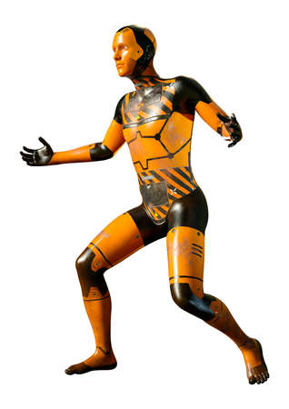 3D rendering of a male robot isolated on white background Archivio Fotografico