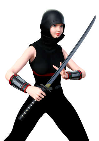 3D rendering of a female ninja holding a sword isolated on white background