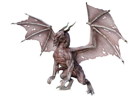 3D rendering of a fantasy dragon isolated on white background Standard-Bild