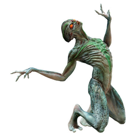 3D rendering of a green alien isolated on white background 免版税图像