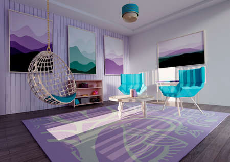 3D rendering of a living room interior