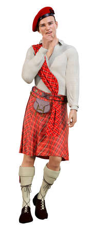 3D rendering of a highlander wearing a traditional scottish kilt isolated on white background