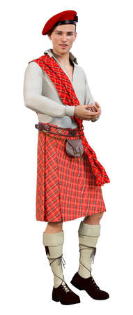 3D rendering of a young highlander wearing a traditional scottish kilt isolated on white background