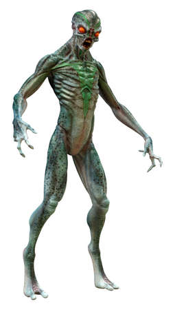3D rendering of a green alien isolated on white background Stock Photo