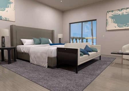 3D rendering of a luxury modern bedroom interior Foto de archivo