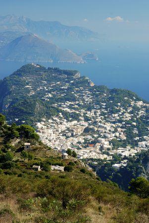 Anacapri at Capri island with beautiful azure blue sea photo