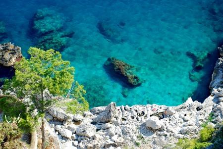 カプリ島での紺碧の海