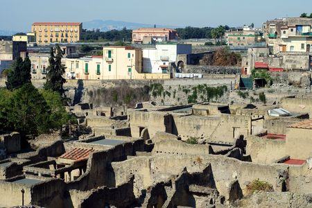 Excavation of Herculaneum city in Ercolano in Italy  photo