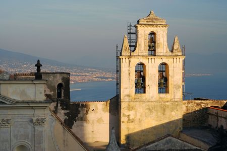 Aerial view of Naples port and castle bell tower photo
