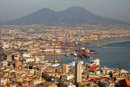 Aerial view of Naples city with Mount Vesuvius