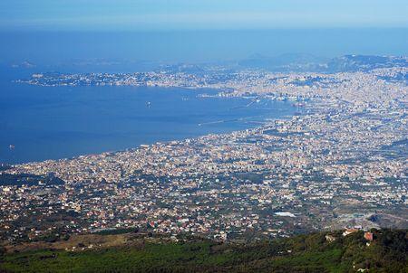 Aerial view of Naples city from Mount Vesuvius volcano photo