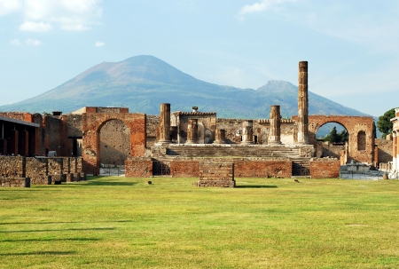 View of the Pompei ruins in italy with Mount Vesuvius in background