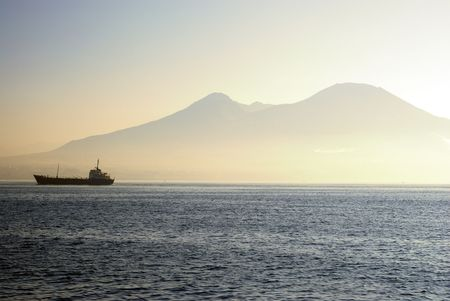 Ferry on a sea with Mount Vesuvius in background  Stock Photo - 7863545