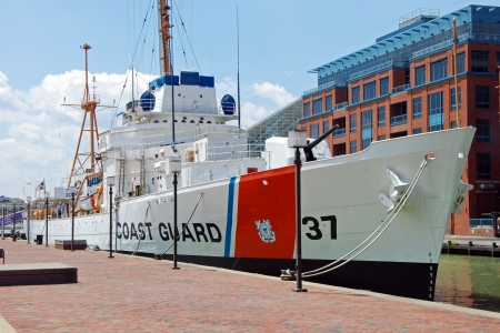 azure coast: USCGC Taney Coast guard ship in Maritime museum in Baltimore Inner Harbor Editorial