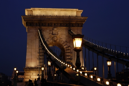 lightsome: Chain Bridge in Budapest at night Stock Photo
