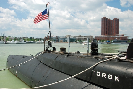 Baltimore  - CIRCA JULY 2009  USS Torsk Submarine in Baltimore Inner Harbor circa July 2009 in Baltimore Maryland, USA  USS Torsk is one of two Tench Class Submarine still located inside the United States