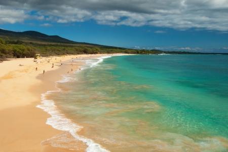 View of the big beach on maui hawaii island with azure ocean Stock Photo