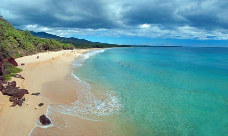 Beautiful view of Big beach on maui hawaii island with azure ocean photo