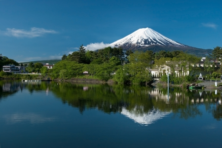 Mount Fuji from Kawaguchiko lake in Japan during the sunrise with beautiful blue sky