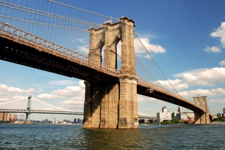 Brooklyn bridge in New York City with beautiful blue sky in background