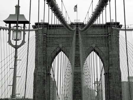 sky scrapers: Brooklyn bridge in New York City