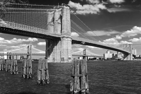 Brooklyn bridge in New York City in black and white