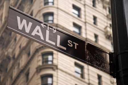 Wall street sign in New York city close-up view photo