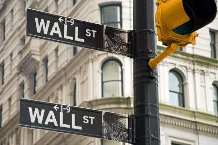 Wall street sign in New York city close-up view Stock Photo