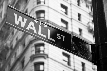 Wall street sign in black nad white in New York city close-up view